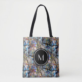 Branches Over Pond Abstract Monogram Tote Bag