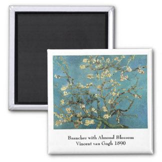 Branches with Almond Blossom by Vincent van Gogh Square Magnet