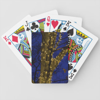 Branches with Christmas lights and a dark blue sky Bicycle Playing Cards