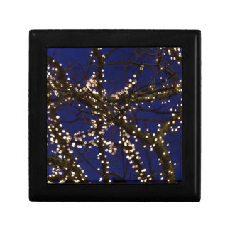 Branches with Christmas lights and a dark blue sky Gift Box