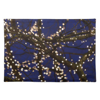 Branches with Christmas lights and a dark blue sky Placemat