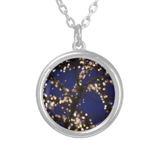 Branches with Christmas lights Silver Plated Necklace