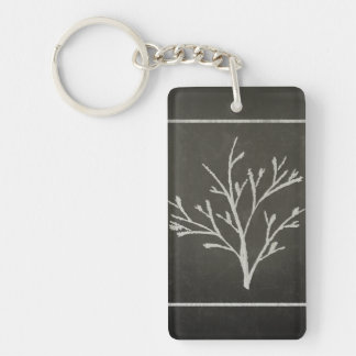 Branching Tree Sapling Chalk Drawing Key Ring