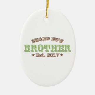 Brand New Brother Est. 2017 (Green) Ceramic Oval Decoration