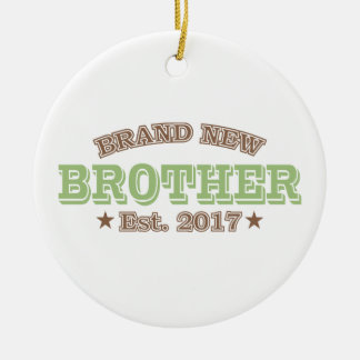 Brand New Brother Est. 2017 (Green) Round Ceramic Decoration