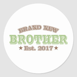 Brand New Brother Est. 2017 (Green) Round Sticker