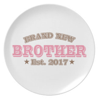 Brand New Brother Est. 2017 (Pink) Dinner Plate