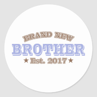 Brand New Brother Est. 2017 (Purple) Round Sticker