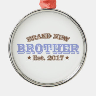 Brand New Brother Est. 2017 (Purple) Silver-Colored Round Decoration