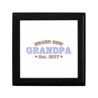 Brand New Grandpa Est. 2017 (Purple) Small Square Gift Box