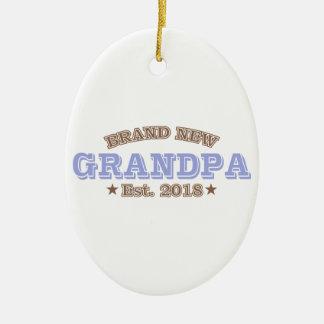 Brand New Grandpa Est. 2018 (Purple) Ceramic Ornament