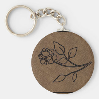 BRANDED LEATHER Rose KeyChain