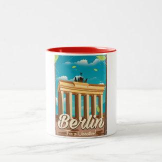 Brandenburg gate ,Berlin cartoon travel poster Two-Tone Coffee Mug