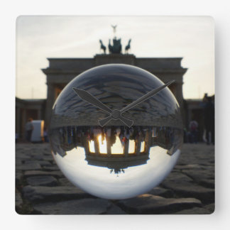 Brandenburg Gate sunset 002.1, Berlin Square Wall Clock