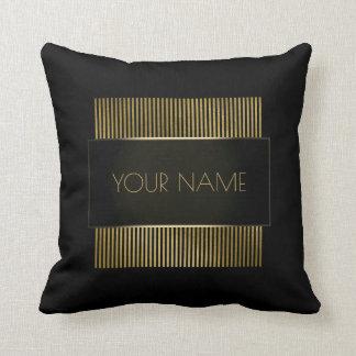 Branding Black Gold Minimal Name Geometry Luxury Cushion