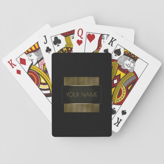 Branding Black Gold Minimal Name Geometry Luxury Playing Cards