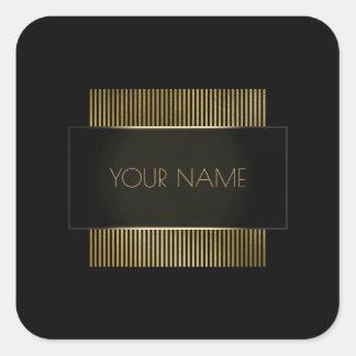 Branding Black Gold Minimal Name Geometry Luxury Square Sticker