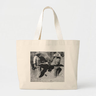 Branding horses with the pitchfork brand large tote bag