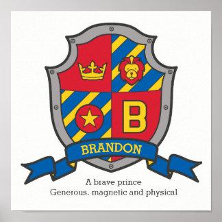 Brandon boys name meaning heraldry shield letter B Poster