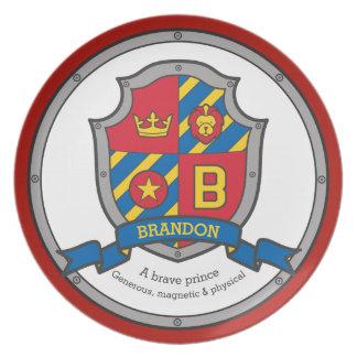 Brandon letter B name meaning heraldry shield Plate