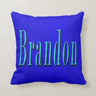 Brandon Name Blue Logo, On Blue Mosaic Cushion