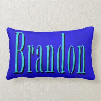 Brandon Name Blue Logo, On Blue Mosaic Lumbar Cushion