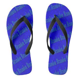Brandon Name Logo On Blue Mosaic, Thongs