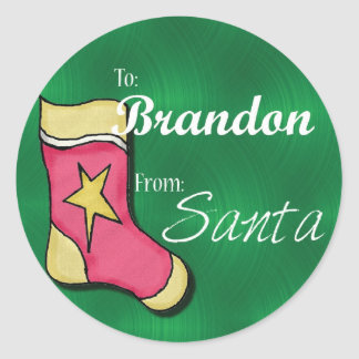 Brandon Personalised Christmas Label16 Round Sticker