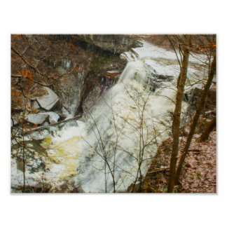 Brandywine Falls in Winter, Ohio Poster
