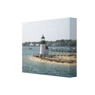 Brant Point Lighthouse Nantucket Cottage Canvas Print