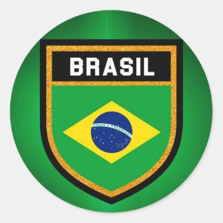 Brasil Flag Classic Round Sticker