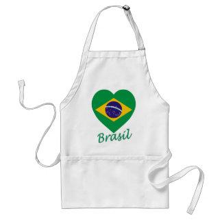 Brasil Flag Heart Adult Apron