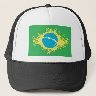 brasil flag peace trucker hat