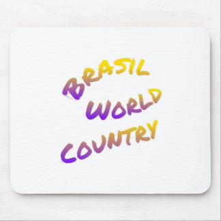 Brasil world country, colorful text art mouse pad