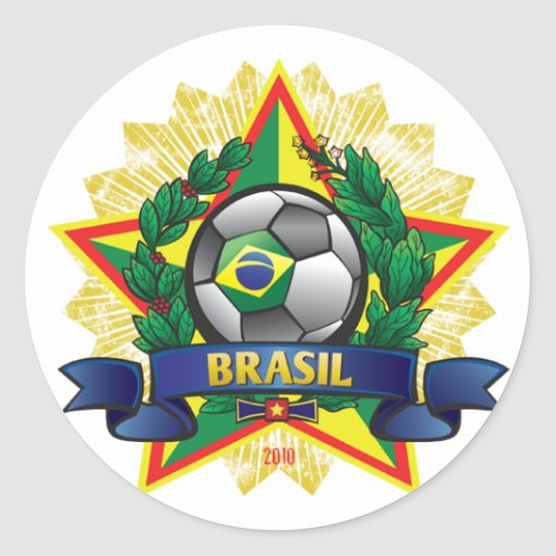 Brasil World Cup Soccer Round Stickers