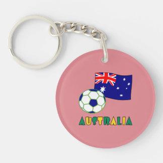 Brasileiro Futebol e Bandeira Double-Sided Round Acrylic Key Ring
