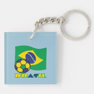 Brasileiro Futebol e Bandeira Double-Sided Square Acrylic Key Ring