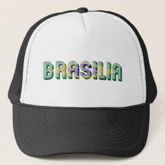 Brasilia Brasil Brazil Typography Flag Colors Trucker Hat