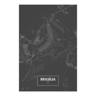 Brasília, Brazil (white on black) Poster