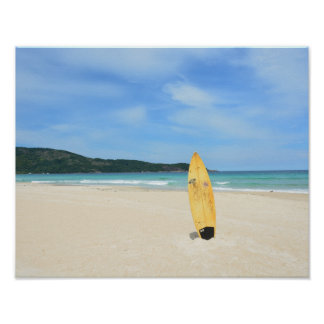 Brasilian beach with yellow surf board poster