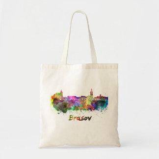 Brasov skyline in watercolor tote bag