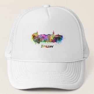 Brasov skyline in watercolor trucker hat