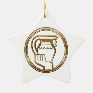Brass and Copper Aquarius Zodiac Astrology Ceramic Ornament