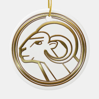 Brass and Copper Aries Zodiac Astrology Ceramic Ornament