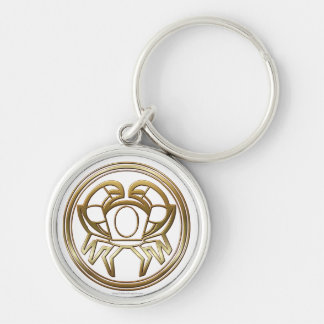 Brass and Copper Cancer Zodiac Astrology Key Ring