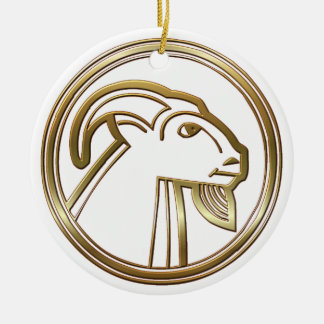 Brass and Copper Capricorn Zodiac Astrology Double-Sided Ceramic Round Christmas Ornament