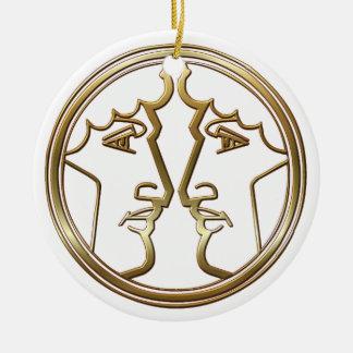 Brass and Copper Gemini Zodiac Astrology Ornaments