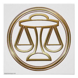 Brass and Copper Libra Zodiac Astrology Poster