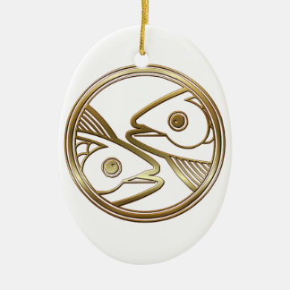Brass and Copper Pisces Zodiac Astrology Ceramic Oval Decoration