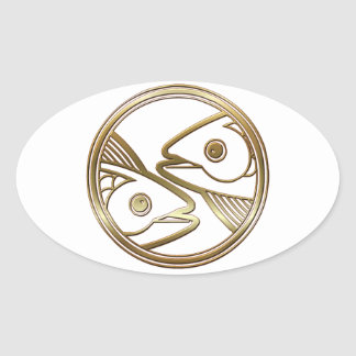 Brass and Copper Pisces Zodiac Astrology Oval Sticker